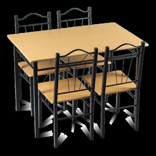 Комплект маса с 4 стола Carmen 20009 - бук